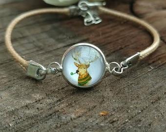 Brown Leather Deer Bracelet Dainty Antler Charm Jewelry