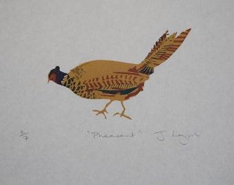 Pheasant, original artist linocut print