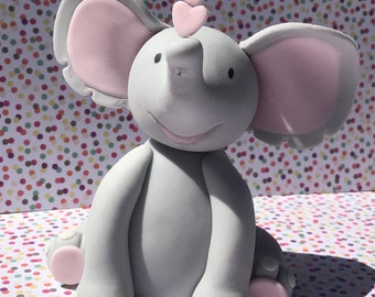 "Adorable edible Fondant Elephant...! Perfect for a baby shower or baby's birthday party...! 3.5 - 4.5"" h x 3"" w"