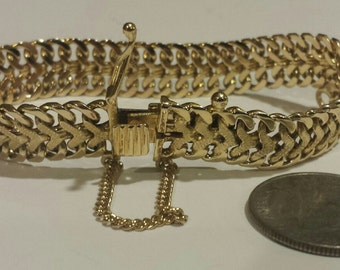 "Antique Vintage 14K Yellow Gold Woven Chain Link Bracelet 7 1/2"" Long 36.4 grams Estate"