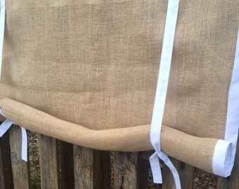 Burlap Valance with Trim