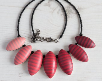 Red bib necklace, Red statement necklace, Red necklace, Red and black necklace, Statement black and red necklace, Polymer clay necklaces UK
