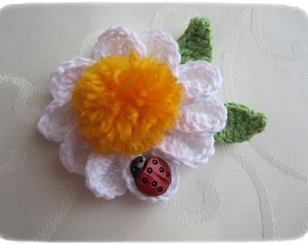 Crochet flower applique, Crochet Flower White -Yellow with Ladybug.