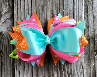 Big hair bow clip 5.5 inches for Baby Toddler Girl , Multiple layers, Christmas gift , Birthday gift for girls