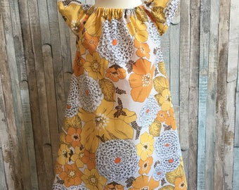 Girls flower dress-Size 2 to 3~Floral baby dress-Baby girls dress~Baby summer dress~Girls cotton summer dress~Cotton lawn~Yellow dress