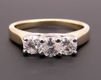 Classic 14k Yellow Gold Three Stone Round Brilliant 1ct Diamond Engagement Ring Size 8