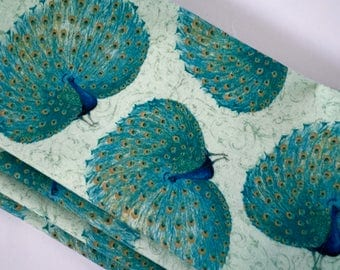 Large Cloth Napkins, Peacocks, Blue-Greens, Teal, Aqua,Sea Green, Cool Summer Table Decor.  Everyday Luxury Reusable Dinner Napkins.