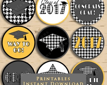 Graduation Printable Cupcake Toppers or Tags Houndstooth 2017 Grad Black and White with Yellow Goldenrod DIY Printable INSTANT DOWNLOAD