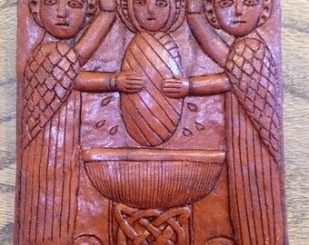 BRIG-001 RED - St. Brigid's Baptism Celtic/Irish Religious Plaque