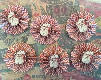 Six (6) Vintage Style Christmas Paper Ornaments - Retro - Primitive - Red Chevron