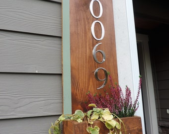 Modern house number planter box