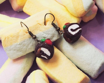 Strawberry to my tummy cake roll earrings