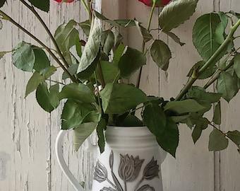Pitcher white porcelain with Tin /White porcelain pitcher/Bavaria porcelain decoration / former pitcher