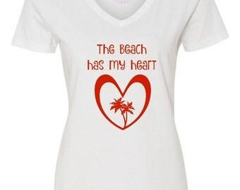 The Beach Has My Heart, Women's Valentine's Day Shirt