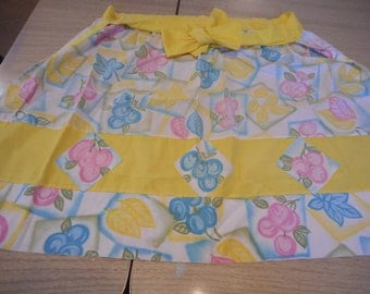 Bright Yellow, Blue and Pink Apron- Handmade Vintage