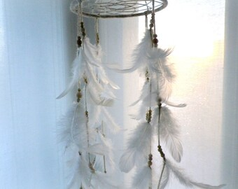 White dreamcatcher mobile, white feather mobile, nursery dream catcher mobile, rustic tribal style baby mobile crib mobile baby shower gift
