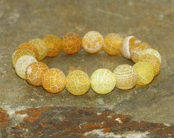 Efflorescence Yellow Agate Bracelet, Yoga Bracelet, Boho Bracelet, Gemstone Bracelet, Wrist Mala Beads, Healing Bracelet, Yoga Jewelry