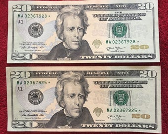 Two similar near consecutive serial number US currency Collectible US dollars