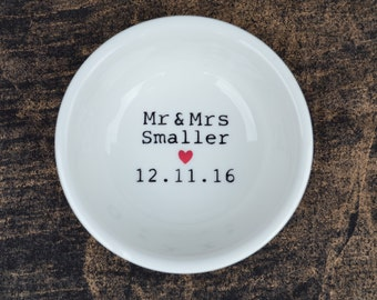 Handpainted personalised ring dish, names and date, a beautiful wedding gift