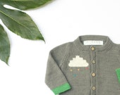 Grey baby cardigan, knitted grey baby cardigan with raincloud design. British wool   sizes 0 - 3 years