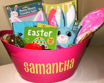 Personalized Easter Basket - You Fill - Multi-purpose - Color options - Personalized Storage Bucket