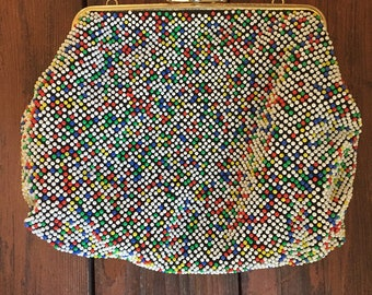 1960's Beaded Hand Bag / Large Beaded Clutch / Purse with Clasp