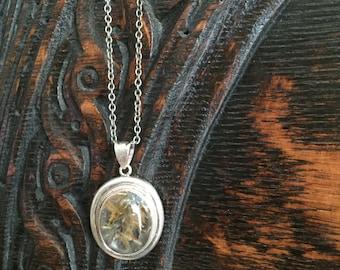 Sterling Silver Rutilated Quartz Pendant Necklace