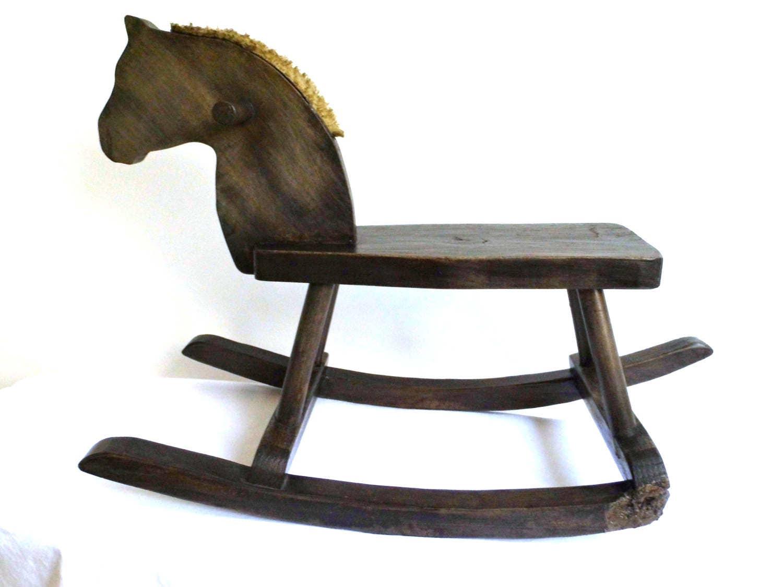 ancien cheval bascule vintage jouet bois quitation ride sur. Black Bedroom Furniture Sets. Home Design Ideas