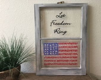 vintage window old window frame wall hanging decor flag glass