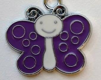 Purple & Silver Butterfly Charm