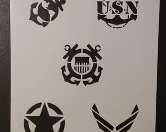 Military Army Air Force Navy Marines Coast Guard Custom Stencil FAST FREE SHIPPING