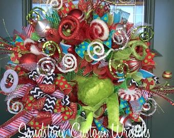 Christmas Wreath, Grinch Christmas Wreath, 2 Sided Christmas Grinch Wreath, Glass Door Christmas Wreath, Grinch Christmas, Grinch Holiday