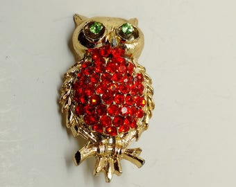 Vintage Red Rhinestone Owl Brooch