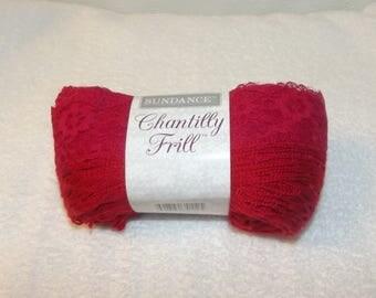 Sundance Chantilly Frill, Lace Yarn, Sashay Yarn, One Skein Scarf Yarn, Frilly Yarn, Sashay Scarf Yarn, Red Yarn, Red Sashay Yarn