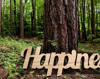 Happines Wood Sign - Wood Sign Art, Wooden Sign, Laser Cut Wood, Wood Decor, Wedding Sign, Rustic Gallery Wall Sign, Elope Sign