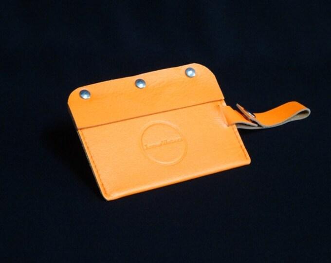 Travel Luggage Tag - Orange - Kangaroo leather - Handmade - James Watson