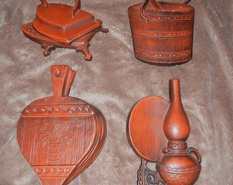 Vintage Hoda Metal Wall Hangings Accents Plaques of Sconce Iron Butter Churn Bellows Kitchen Accents