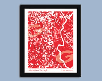 University of Georgia, University wall art poster, UGa decorative map