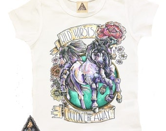 WILD HORSES Kids Shirt / Horses Wild Child Baby hand illustrated shirt / wild baby / wild child baby / horses baby