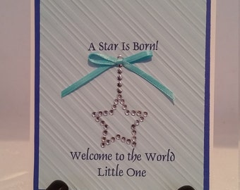"""Handmade,handcrafted, unique Baby Boy """"welcome to the World"""" card"""