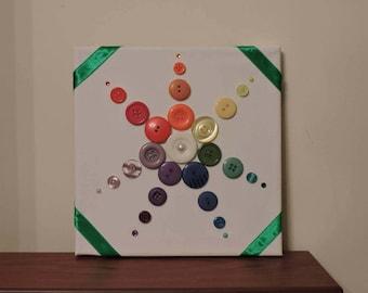Rainbow button flower starburst canvas