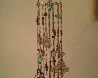 Copper/ turquoise beaded Butterfly mobile