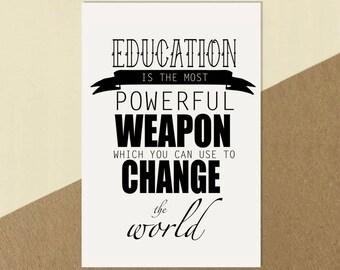 Nelson Mandela Education Quote Print Poster