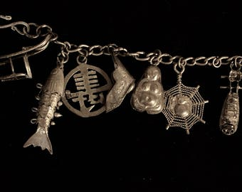 Antique Asian Chinese entirely handmade charm bracelet