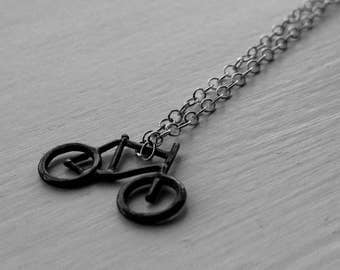 Silver Bicycle Necklace | Bike Necklace | Bicycle necklace | Bicycle pendant | Silver necklace | Bike jewelery | Bicycle gift | Black