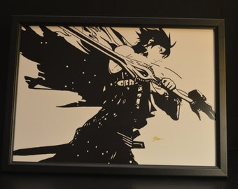 Chrome from Fire Emblem Black and White Print