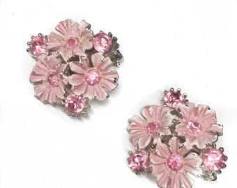 Vintage Floral and Rhinestone Clip On Earrings
