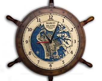 "Marco Island 24"" Ship Wheel Clock Wood Depth Contour Map"