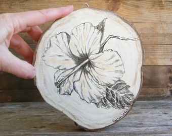 Country decor, Flower print, Rustic wall art, Hibiscus picture, Botanical print,Hipster decor, Farmhouse wall decor, Wood sign, Dorm decor