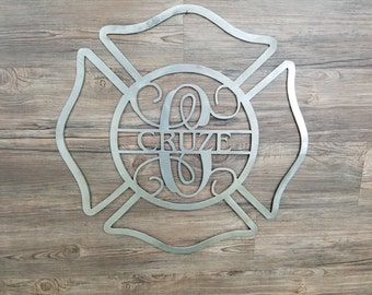 Fire Fighter Badge With Name & Monogram (Home Decor, Wall Art, Metal Art, {Can Be Personalized})